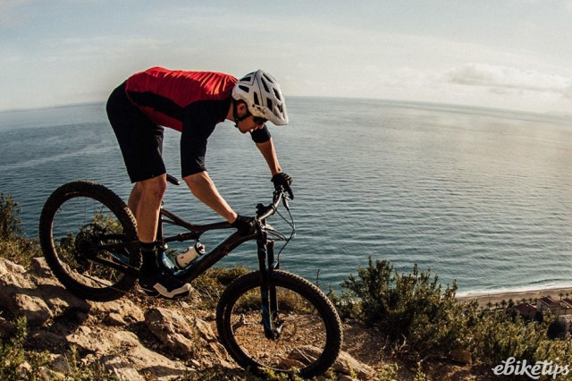 Specialized Turbo Levo FSR riding above Finale Ligure